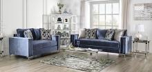 SM2687 2 pc Rosdorf park myra jodie satin blue plush microfiber fabric sofa and love seat set