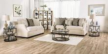 SM3083 2 pc Rosdorf park myra laila ivory chenille fabric sofa and love seat set