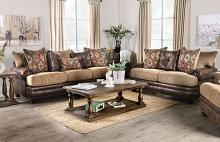 SM5148 2 pc Red barrel studio rumi reyna brown leatherette and chenille sofa and love seat set