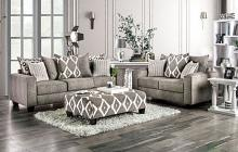 SM5156 2 pc Basie gray burlap weave fabric sofa and love seat set