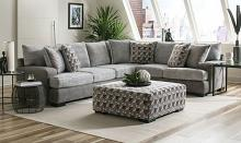 SM5184 2 pc Rosdorf park alannah two tone gray burlap weave fabric sectional sofa