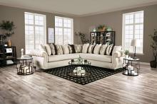 SM5238 3 pc Hokku designs corbridge beige textured chenille fabric sectional sofa tufted arms