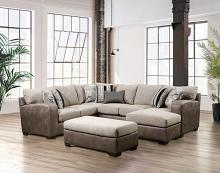 SM5404 3 pc Ashenweald two tone brown and light brown fabric sectional sofa set with squared arms