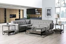 SM6042 2 pc Hokku designs dresden light grey chenille fabric mid century modern sectional sofa