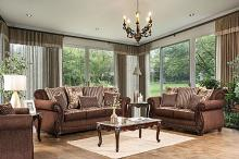 SM6109 2 pc Charlton home Tabitha brown and gold fabric and leatherette sofa and love seat set