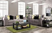 SM6154 2 pc Bradford warn gray chenille fabric sofa and love seat set