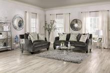 SM6227 2 pc hendon grey chenille sofa and love seat set nail head trim accents