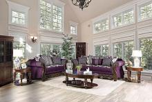 SM6419 2 pc Emilia purple\silver fabric wood trim sofa and love seat set