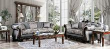 SM6424 2 pc Rosdorf park newdale gray chenille dark walnut wood trim sofa and love seat set