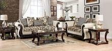 SM6426 2 pc Rosdorf park caldiran beige chenille dark walnut wood trim sofa and love seat set