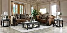 SM6430 2 pc Astoria grand dolph brown fabric sofa and love seat set with dark walnut wood trim