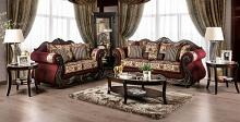 SM6433 2 pc Rosdorf park matteo burgundy chenille dark walnut wood trim sofa and love seat set