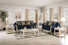 SM7744 2 pc Rosdorf park casilda royal blue chenille wood trim sofa and love seat set