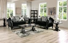 SM7746 2 pc Rosdorf park lucianon black chenille ebony wood trim sofa and love seat set