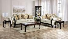 SM7748 2 pc Rosdorf park lucianon cream chenille wood trim sofa and love seat set