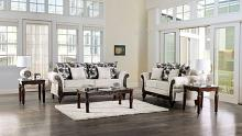 SM7756 2 pc Rosdorf park cassani light gray chenille fabric walnut wood trim sofa and love seat set