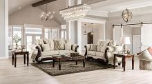 SM7764 2 pc Astoria grand giardino light brown linen like fabric sofa and love seat set with walnut wood trim