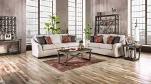 SM8003 2 pc Jarrow ivory linen like fabric sofa and love seat set