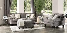 SM8012 2 pc Canora grey pierpont gray burlap weave fabric sofa and chair and a half set