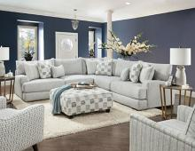SM8189 2 pc Latitude run pelham gray soft weave fabric sectional sofa
