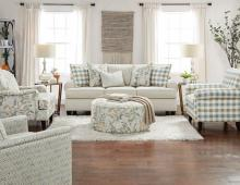 SM8191 2 pc Canora grey cardigan ivory chenille fabric sofa and love seat set