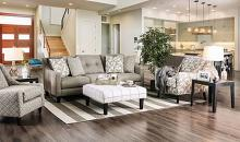 SM8564 2 pc parker light gray burlap weave premium fabric contemporary style sofa and love seat set