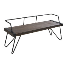 Stefani Industrial Bench in Antique Metal and Walnut Wood