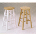 Set of 2 natural or natural and white finish wood counter height bar stools