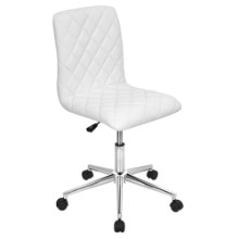 Lumisource OC-TW-CAV-W Caviar Height Adjustable Contemporary Office Chair with Swivel in White