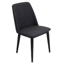 Tintori Mid-Century Dining Contemporary Chairs in Charcoal Fabric - Set of 2