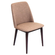Tintori Mid-Century Dining Contemporary Chairs in Brown Fabric - Set of 2