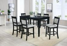 VH-757-7PC 7 pc Gracie oaks upstate black finish wood counter height dining table set