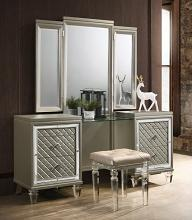 VEN-VN-3PC 3 pc venetian champagne finish wood make up bedroom vanity set