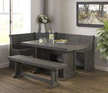 VH-1840 5 pc Gracie oaks merlinda grey distressed finish wood solid pine breakfast nook table and benches