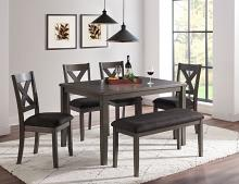 VH-365-6PC 6 pc Gracie oaks chandler grey finish wood dining table set grey fabric seating