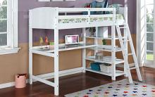Parker-white Hokku designs dorena white finish wood twin loft bunk bed with workstation and shelves