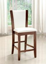 CM3710WH-PC Set of 2 dark cherry finish wood counter height side chairs with white faux leather