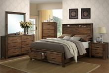 Poundex F9329Q-4881-82-83 4 pc Morgan medium brown natural finish wood queen bed set