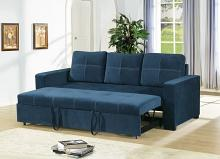 2 pc Daryl II collection navy linen like fabric upholstered sofa set with pull out sleep area