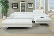 2 pc collette collection white bonded leather upholstered modern style  sectional sofa