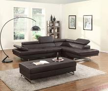 8136BR-2PC 2 pc Latitude run oleander brown leather gel sectional sofa with adjustable headrests and arm with chrome legs