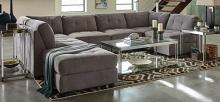 551004 6 pc claude dove padded microfiber modular sectional sofa