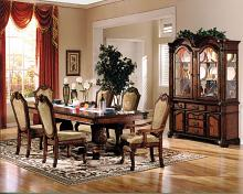 Acme 04075-77 7 pc Astoria grand liam chateau de ville cherry finish wood double pedestal dining table set