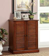 Furniture of america CM-AC213A Della collection country style oak finish wood louvered front cabinet door 5 shelf shoe cabinet