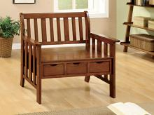 CM-BN6300 Pine crest oak solid wood finish country style bench with 3 under seat drawers