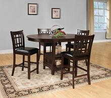 5 pc junipero collection dark cherry finish wood counter height dining table set with upholstered seats