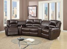 Poundex F6748 5 pc Breese collette brown bonded leather theater sectional sofa with recliners