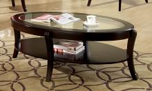 CM4488C Finley espresso finish wood beveled glass top coffee table