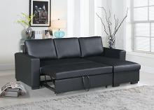 2 pc Everly collection black faux leather upholstered sectional sofa set with pull out sleep area