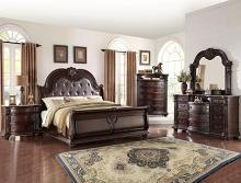 Crown mark B1600 Q-5 pc Yorkshire collection rich brown finish wood headboard bedroom set with marble tops